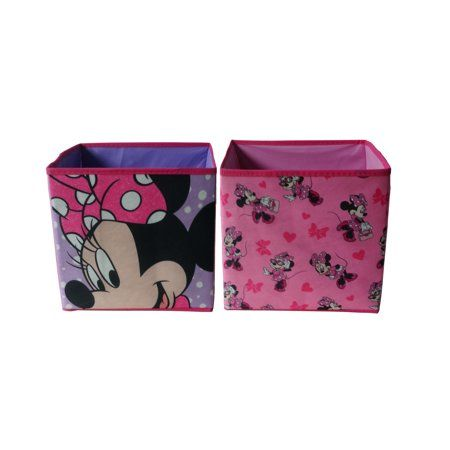 Disney Minnie 2 Pack Collapsible Storage Cube 10 X 10 Pink Toy Storage Collapsible Storage Cubes Cube Storage