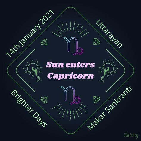 #MakarSankranti When #Sun enters #zodiacsign of #Capricorn which is owned by his son #Saturn, we celebrate Makar Sankranti. It is even start of longer days as sun becomes #Uttarayan . #makarsankranti2020 #sankranti #makar #shani #surya #sunincapricorn #capricorn♑ #astrology #vedicastrology #siderrealastrology #aatmaj #aatmaj444 #aatmaj_astrology #canva #pongal #lohri