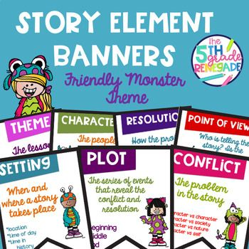 You Will Receive 7 Friendly Monster Themed Story Elements Banners In Color I Have Even Included Directions To Help You Print Two P Story Elements Banner Theme