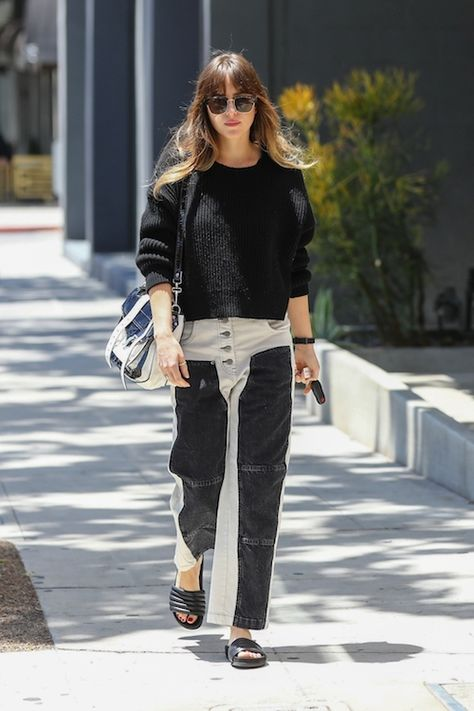 Dakota Johnson Trendsets With These Color Blocked Jeans | Celebrity Style Guide