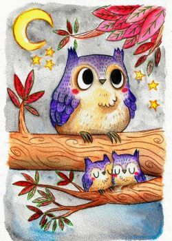 ❤️Mother and Baby Owls ~ Ellen Stubbings Illustration