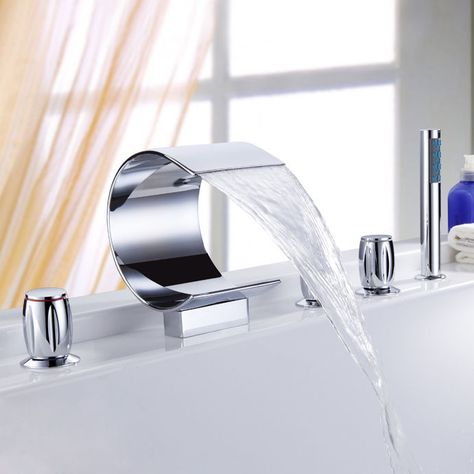 Modern Mooni Waterfall 5 Holes Bath Mixer Tap With Handshower Free