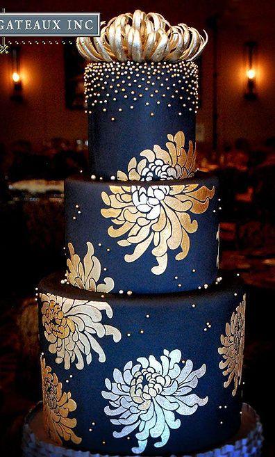 Navy Blue And Gold Cake Decor Wedding Cakes Blue Gold Wedding