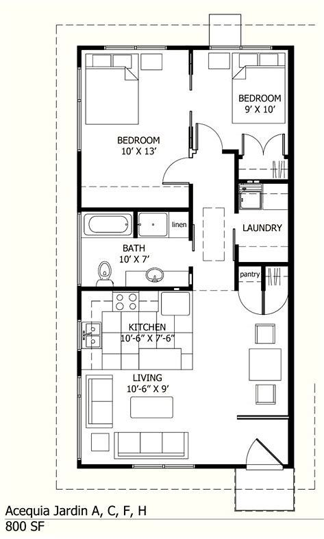 Image Result For 800 Square Feet Floor Plans Small House Layout House Floor Plans Cottage Plan