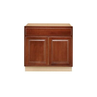 Hampton Bay Hampton Assembled 36x34 5x24 In Sink Base Kitchen Cabinet In Cognac Ksb36 Cog The Home Depot How To Install Countertops Raised Panel Doors Sink