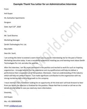 Thank You Letter Example For An Administrative Interview Thank You Letter Examples Thank You Letter Letter Example
