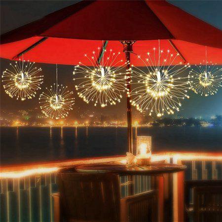 Solar Lawn Lamp Firework LED Fairy String Light 8Modes Remote Party Xmas Decor