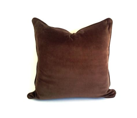 Brown Chocolate Velvet Throw Pillow Cover