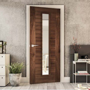Seville Walnut Fire Door Clear Glass 1 2 Hour Fire Rated Prefinished Fire Doors Walnut Doors Glass Door