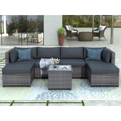 Latitude Run Azhane 7 Piece Rattan Sectional Seating Group With Cushions Cushion Color Backyard Furniture Patio Furniture Collection Wicker Outdoor Sectional