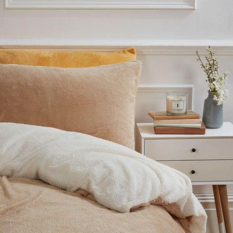 Teddy Fleece Reversible Duvet Cover Set Latte Cream Duvet Cover Sets Reversible Duvet Covers Duvet Sets