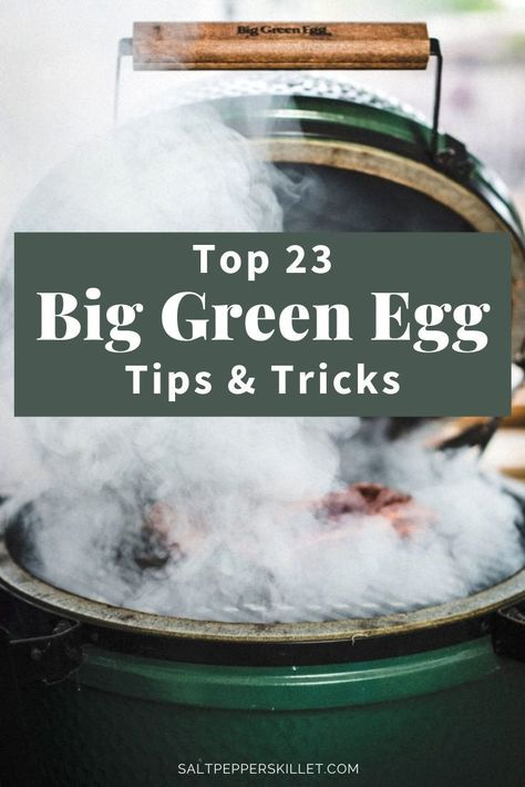Get the top 23 Big Green Egg Tips & Tricks. Learn the basics, some advanced tips and amazing recipes for your Big Green Egg Smoker. Big Green Egg Ribs, Big Green Egg Brisket, Big Green Egg Smoker, Green Egg Grill, Green Eggs And Ham, Green Egg Cooker, Smoked Pork Ribs, Healthy Grilling, Vegetarian Grilling