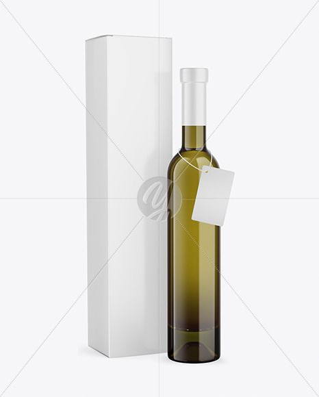 Antique Green Glass White Wine Bottle With Box Mockup In Bottle Mockups On Yellow Images Object Mockups In 2021 Bottle Mockup Bottle Wine Bottle