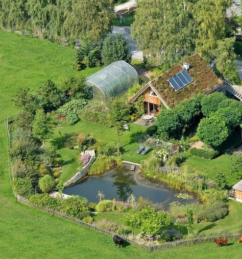 Natural homestead with living roof, solar, greenhouse, and great looking pond. Natural Swimming Ponds, Natural Pools, Earthship Home, Earthship Design, Concept Home, Cabins In The Woods, Permaculture, Dream Garden, Backyard Landscaping