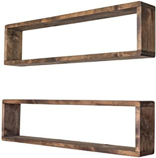 Drakestone Designs Stackable Floating Box Shelves Set Of 2 Solid Wood Wall Mount Modern Farmhouse D With Images Wooden Box Shelves Rustic Wall Shelves Wall Shelves