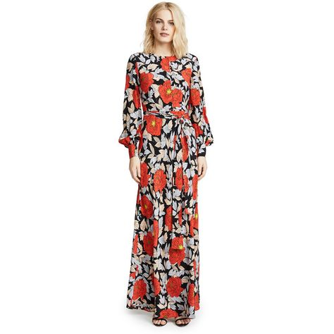 aabac12813f Diane von Furstenberg Waist Tie Maxi Dress ( 525) ❤ liked on ...
