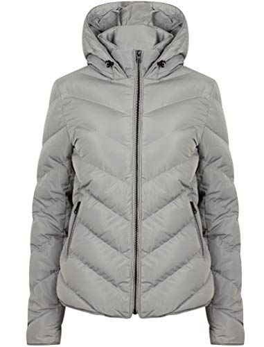 Oracle Chevron Quilted Hooded Puffer Jacket in Light Grey