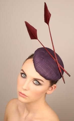 Rosalind Beere Millinery - Purple beret with arrow feathers (Barbara) #Passion4hats