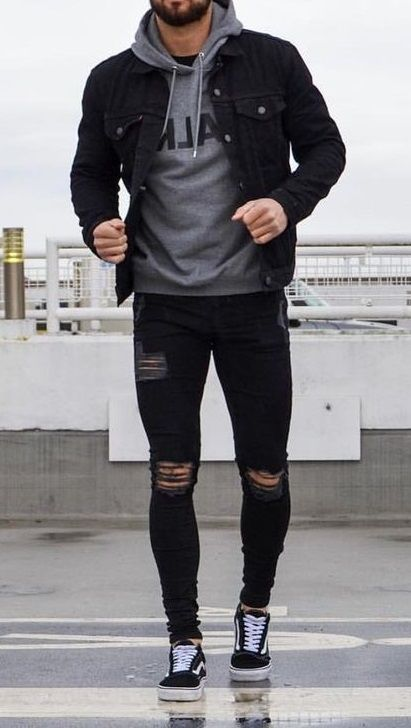 Dope Look! fashion menswear outfits Denim sweater mens men shirt hoodie wear style fashstop tracksuit vans converse street fash stop jeans ripped jeans denim shirts jacket hoodie boots tee Shorts Summer abs gym workout