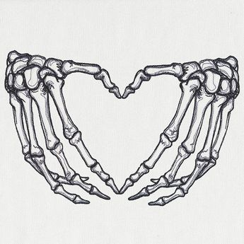 Skeleton Heart Hands Embroidered Flour Sack Hand/Dish Towel