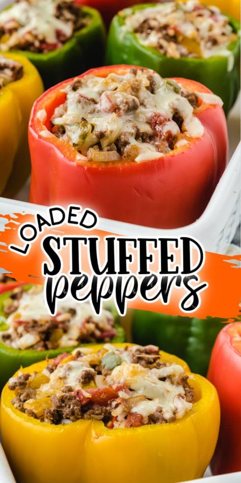 Loaded Stuffed Peppers will be a new addition to your weekly dinner rotation. Colorful sweet bell peppers stuffed with seasoned ground beef, melted cheese, diced veggies, and rice. You have a complete meal, all inside a single baked bell pepper.