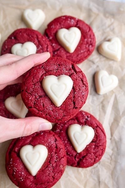 Easy Valentine's Day Treats | With the holiday season in full swing, we are sharing some easy Valentine's Day treats that are perfect for kids' parties at school or even that special someone in your life. Red Velvet Heart Shaped Cookies! Perfect Valentines desserts for adults and kids alike! #valentinesdaytreats #vdaytreats #vday #valentinesday #valentinesdayrecipes #vdayrecipes #valentinesdaydesserts #vdaydesserts #vdaykidsideas #valentinesdaykidsideas #vdaypartyideas