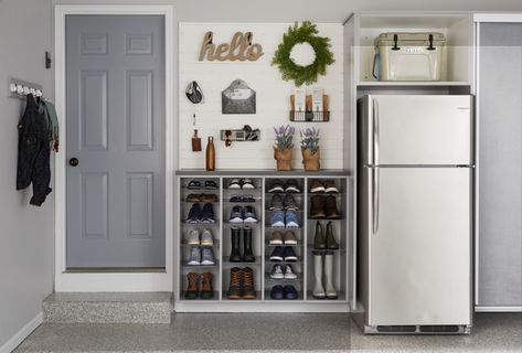 Garage Design by Inspired Closets Vermont There's a good chance your busy family goes in and out of this door multiple times a day. Garage Organisation, Diy Garage Storage, Home Organization, Closet Storage, Laundry Storage, Storage Hacks, Diy Entry Storage, Outdoor Shoe Storage, Laundry Nook