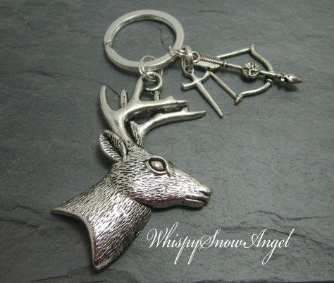 Keyring Stag Antler Red Deer Real Handmade Keychain Hunting Gift