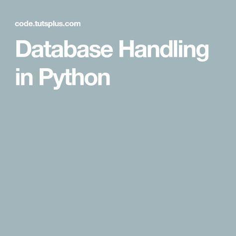 Database Handling in Python