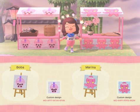 Boba Tea and Sushi art for stalls! Animal Crossing Guide, Animal Crossing Qr Codes Clothes, Pink Island, Stall Signs, Motif Acnl, Motifs Animal, Sushi Art, Pink Animals, Chibi