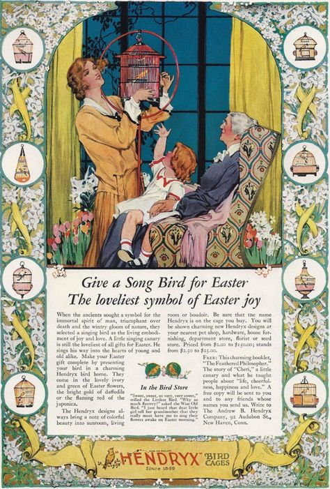 to 1920s Hendryx Bird Cages ad print Song Bird Easter Canary Vintage ...