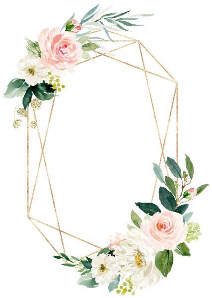 Geometric Blush Gold Floral Wedding Invitation   Zazzle.com