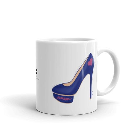 """🇺🇸 This stylish mug is perfect for shoes lovers who want to add a touch of fun to their morning coffee or afternoon tea. This white glossy cup features """"Amor Walk"""" an original illustration by artist and designer Roxana Frontini. The sexy heel featured on this illustration is blue, with a pink heart and the word love written in spanish (amor). Keep reading to discover the message behind this illustration. Everything in our design store is meant to help you connect with that spark of wisdom, fun"""