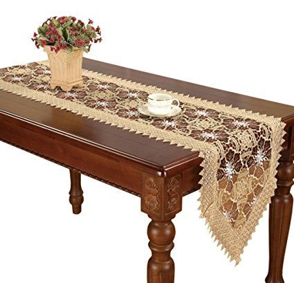 Simhomsen Embroidered Gold Floral Lace Table Runner And Scarves Maroon Gauze 16 By 120 Inch Review Lace Table Runners Lace Table Table Runners