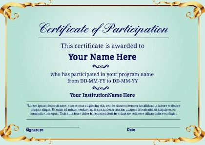 Best Sample Certificate Of Participation Template In 2021 Certificate Of Participation Template Free Certificate Templates Certificate Templates