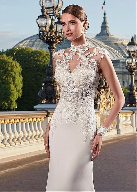 Magbridal Graceful Tulle & Chiffon Illusion High Collar See-through Bodice Mermaid Wedding Dress With Beaded Lace Appliques