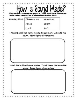 SCIENCE SOUND UNIT FIRST SECOND GRADE - TeachersPayTeachers.com ...