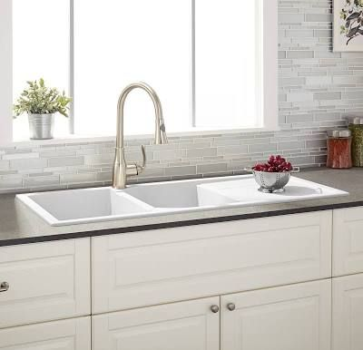 porcelain kitchen sink with drain board | Drop in kitchen ...