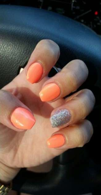Best Nails Orange Glitter Sparkle Ideas Short Coffin Nails Acrylic Nails Coffin Short Orange Acrylic Nails