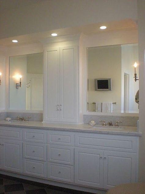 For Master Bathroom Extra Tall Medicine Cabinet Built On Top Of Vanity Home Decor Bathroom Beach House Bathroom Master Bathroom