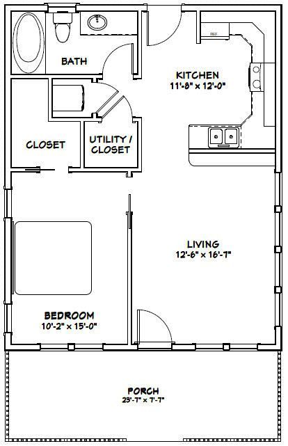 24x30 House 24x30h2i 720 Sq Ft Excellent Floor Plans Guest House Plans Tiny House Floor Plans Small House Floor Plans