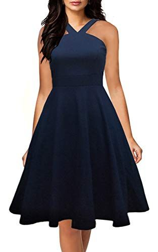 Yikomi Womens Chic Sleeveless Cross Neck Halter Casual Cocktail Party Dress K12 With Images Casual Cocktail Dress Cocktail Dress Party Trendy Cocktail Dresses