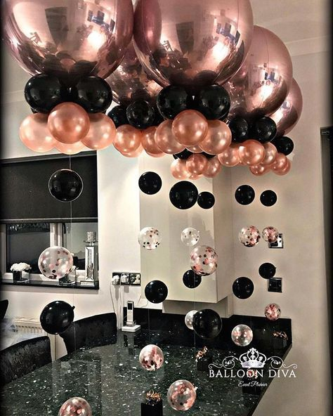 Rose Gold Orbs Black Gold Party 18th Birthday Party Rose