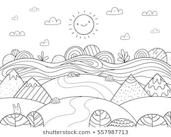 Cute Cartoon Meadow With Mountain Bunny And River Kids Coloring