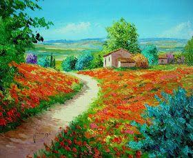 Flores Y Paisajes Con Espatula Oleo Paisajes Pinturas De La Naturaleza Escalones De Jardín