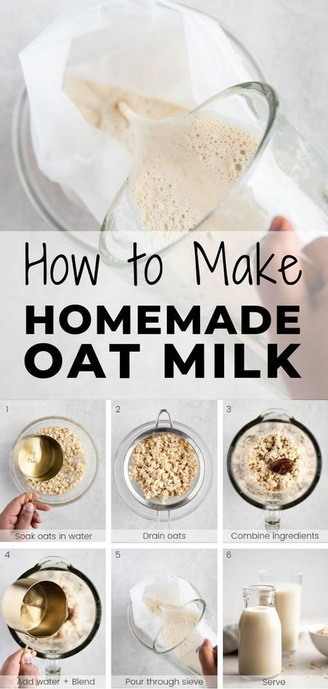 Oat milk is creamy delicious vegan and a perfect addition to smoothies lattes and more! Make it at home with this quick and easy step-by-step recipe. It takes less than 5 minutes to make and is cheaper than nut milk and store-bought milk! Healthy Breakfast Smoothies, Easy Smoothie Recipes, Fruit Smoothies, Easy Healthy Recipes, Healthy Snacks, Healthy Milk, Milk Y Goku, Milk Recipes, Vegan Recipes