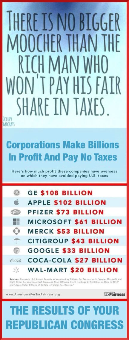 The corruption of the republican party is beyond belief.  Corporations make billions in profits and pay no taxes.