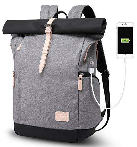 Laptop Rucksack Damen Herren Roll Top Rucksack mit USB fur