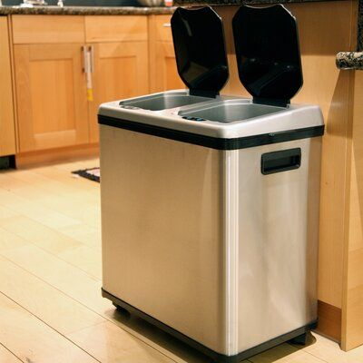 Can Garbage Trash Bin Recycle Waste Container Home Kitchen Dual Compartment New