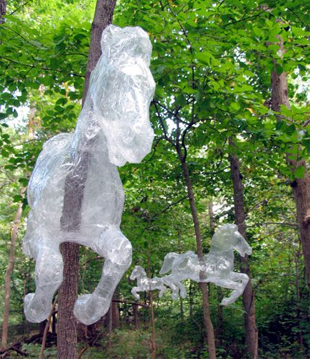 Packing Tape Sculptures by Mark Jenkins; A short video at this link shows how some of his sculptures are made.